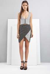 Forever 21 Foxiedox Grid Patterned Origami Skirt Black White