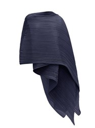 Issey Miyake Pleats Please Madame T Pleated Scarf Navy