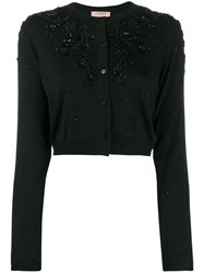 Twin Set Cropped Bead Embellished Cardigan Black