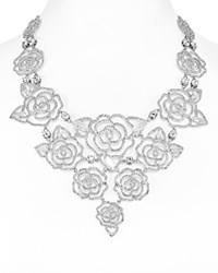 Kate Spade New York Pave Rose Statement Necklace 12 Silver Clear