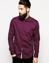 Vito Shirt With Mini Collar In Slim Fit Burgundy
