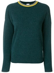 Paul Smith Contrast Neckline Knitted Sweater Cashmere S Green
