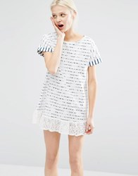 I Love Friday T Shirt Dress In Breton Stripe With Lace Trim Hem White
