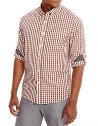 Kenneth Cole Long Sleeve Iridescent Check Shirt Sunkissed