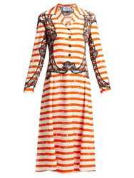 Prada Striped Twill Dress Orange Print