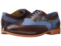 Robert Graham Empire 3 Dark Brown Blue Navy Men's Lace Up Wing Tip Shoes