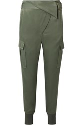 3.1 Phillip Lim Fold Over Satin Tapered Pants Gray Green