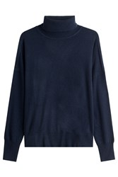 Closed Turtleneck Pullover With Wool Blue