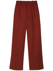 A La Garconne Straight Cropped Trousers Cotton Red