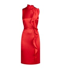 Reiss Lola Ruffle Front Satin Dress Female Red
