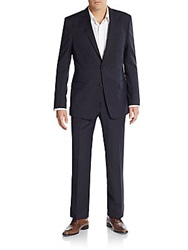 Versace Regular Fit Tonal Striped Wool Suit Navy