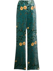Ailanto Floral Print Palazzo Trousers Green