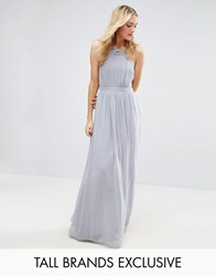 Little Mistress Tall Pleated Maxi Dress With Embellished Neck Grey