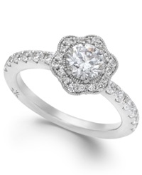 Fleur By Marchesa Certified Diamond Flower Engagement Ring In 18K White Gold 1 1 4 Ct. T.W.