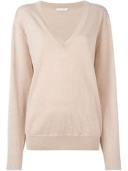 See By Chloe Oversized V Neck Sweater Pink And Purple