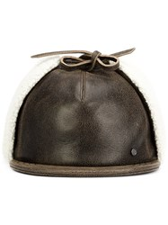 Maison Michel Leather Cap Brown