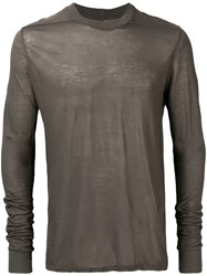 Rick Owens Drkshdw Long Sleeve Fitted Sweater Grey