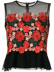 Sportmax Embroidered Floral Tank Top Polyester Black