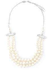 Vivienne Westwood Safety Pin Strands Of Pearls Necklace