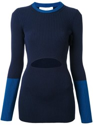 Victoria Beckham Cut Out Ribbed Jumper Blue