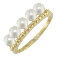London Road 9Ct Gold Pearl Bar Cocktail Ring Gold