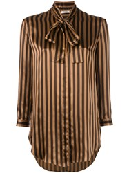 Nina Ricci Tied Neck Striped Shirt Women Silk 38 Brown
