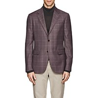 Barneys New York Plaid Wool Silk Two Button Sportcoat Purple