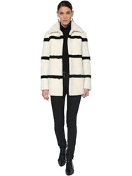 Saint Laurent Striped Shearling Coat White Black