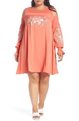 Glamorous Plus Size Embroidered Cold Shoulder Dress Coral