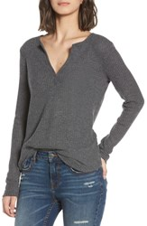 Socialite Thermal Henley Top Heather Charcoal