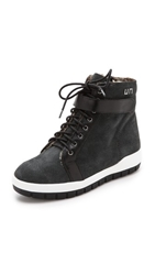 United Nude Philly Faux Fur Lined High Top Sneakers Dark Grey Black