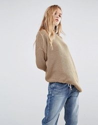 Daisy Street Relaxed Jumper Sand Brown