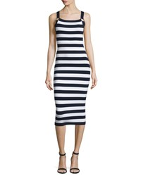 Michael Kors Sleeveless Striped Knit Tank Dress Navy