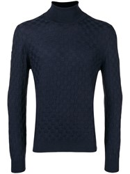 Tagliatore Roll Neck Fitted Jumper Blue