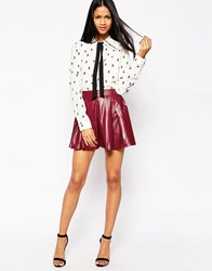 Oh My Love Skater Skirt In Leather Look Red