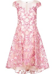 Marchesa Notte Embroidered Flower Dress Pink Purple