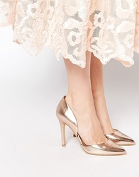 Head Over Heels Callina Rose Gold Point Toe Two Part Heeled Shoes Rosegold