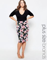 Club L Plus Midi Dress With Floral Print Skirt Black