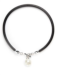 Majorica 18Mm Baroque Pearl And Leather Cord Necklace White