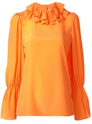 Tory Burch Ruffle Blouse Orange