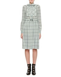 Valentino Long Sleeve Windowpane Silk Shirtdress Light Blue