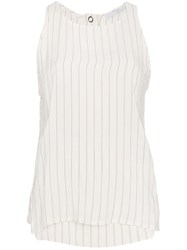 Lot 78 Lot78 Striped Sleeveless Top Viscose Polyester White
