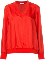 Tibi Mendini Twill V Neck Top Red