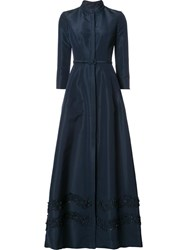 Carolina Herrera 'Faille' Embroidered Trench Gown Blue