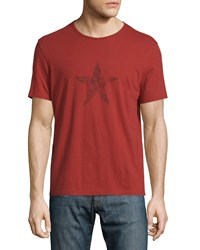 John Varvatos Faded Star Graphic Short Sleeve Tee Red Clay Women's