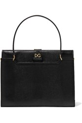 Dolce And Gabbana Ingrid Lizard Effect Leather Tote Black