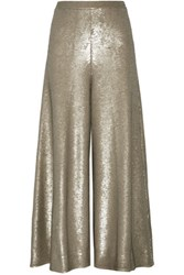 Temperley London Sequined Stretch Knit Wide Leg Pants Gold