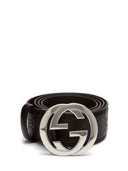 Gucci Gg Plaque Leather Belt Brown
