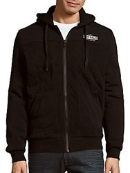 Buffalo David Bitton Fundell Quilted Long Sleeve Hoodie Black