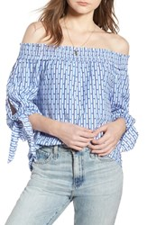 Scotch And Soda Off The Shoulder Tie Sleeve Top